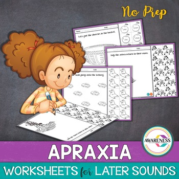 Apraxia Therapy- Practice Sheets:Later Developing Sounds (No prep)
