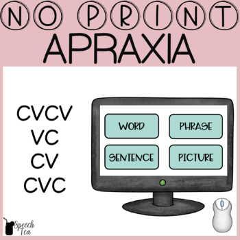 Apraxia Progress Monitoring No Print- CVCV, VC, CV, CVC