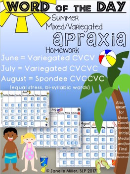 Apraxia Summer HW 2017 Calendars (Variegated CVCV, CVCVC & Spondee)