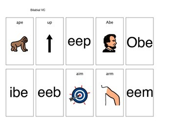 Apraxia VC word pictures