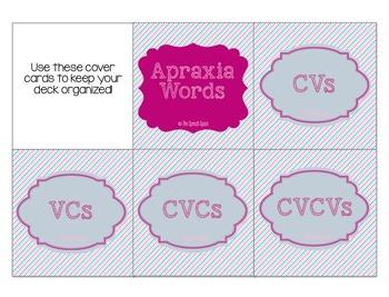 Apraxia Words: CVs, VCs, CVCs, & CVCVs