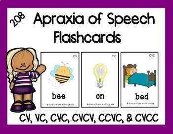 Apraxia of Speech Flashcards: 208 Cards for CV, VC, CVC, CVCV, CCVC, & CVCC