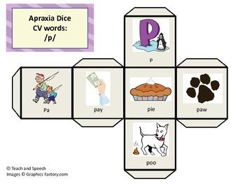 Apraxia/Articulation Syllable Dice CV