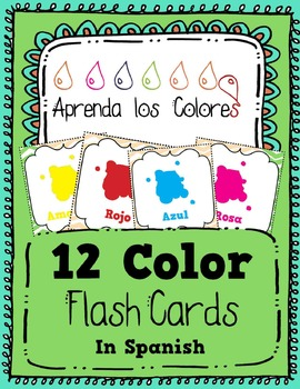 Aprenda los Colores - Learn the Colors in Spanish - 12 Flash Cards