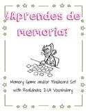 ¿Aprendes de memoria? Vocab Game / Flashcard Set Realidades 2 : 1A