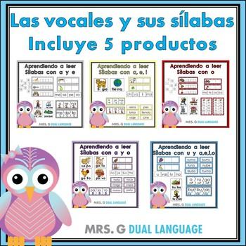 Las vocales y sus sílabas Aprendiendo a leer - BUNDLE