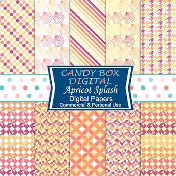 Apricot, Yellow, Peach Geometric Digital Papers - Commercial Use OK