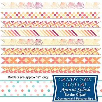 Apricot Yellow Peach Geometric Ribbon Borders - Commercial Use OK