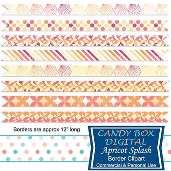 Apricot Yellow Peach Geometric Ribbon Borders - Commercial Use OK