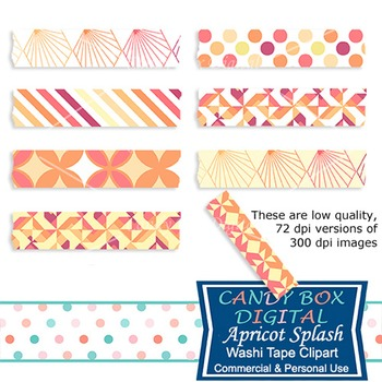 Apricot Yellow Peach Geometric Washi Tape Clip Art - Commercial Use OK
