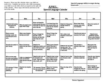 April  Speech Language Homework Calendar