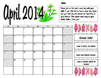 April 2014 Behavior Log