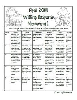 April 2014 Writing Response Calendar