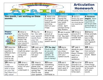 April 2015 Articulation Calendar