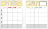 April 2016 Editable Curriculum Planning Calendar