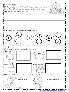 April 2017 Homework Packet for Kindergarten Kiddies