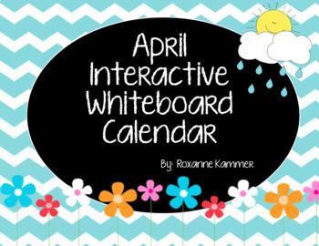 April 2018 Interactive Whiteboard Calendar