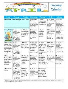 April 2015 Language Calendar