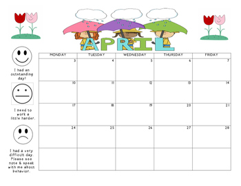 April 2017 Behavior Calendar