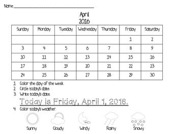 April 2016 Calendar Morning Work