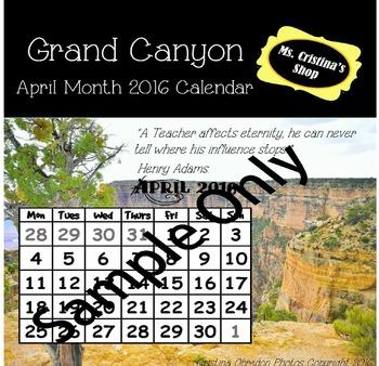 April 2016 Monthly Calendar