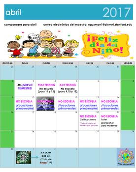 April 2017 Calendar in Spanish. Calendario de abril 2017 e