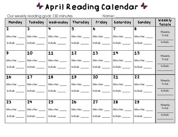 April 2018 Reading Calendar
