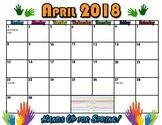 April 2018 Hands Up Spring Calendar