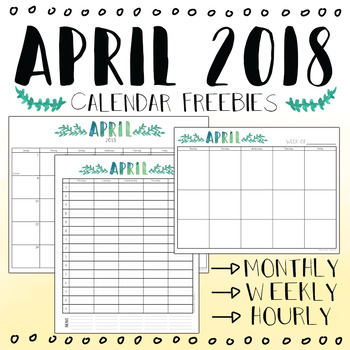 image about Printable Hourly Calendar identified as April 2018 Printable Month-to-month, Weekly, and through Options by means of Mrs