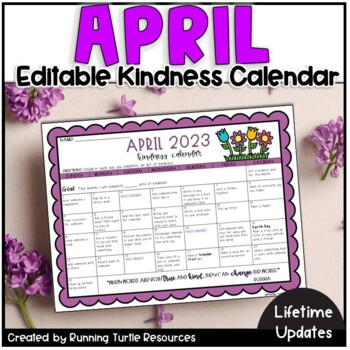 Kindness Calendar 2021 April Kindness Calendar *Editable*   Updated for 2021   TpT