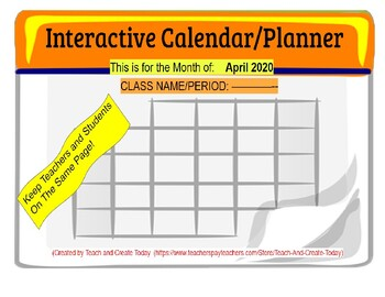 April 2020 Interactive Calendar/Lesson Planner-For any Class (Google Slides)