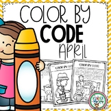 April Color by Code | Color by Number | Color by Sight Word | Spring Theme