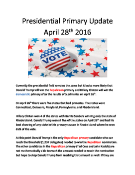 April 28 Presidential Primary update - results information questions facts