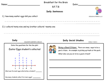 April 2nd Grade Common  Core Morning Bell Work