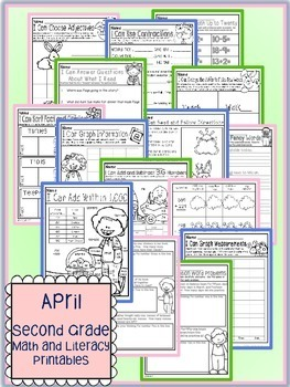 April Easter Spring Second Grade Math and Literacy NO PREP Common Core Aligned