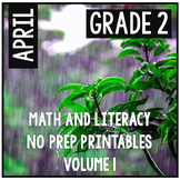 Distance Learning April Easter Spring Second Grade Math and Literacy NO PREP