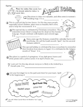 April 32-Page Thematic Lesson Plans Booklet