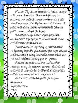 NO PREP April 3rd Grade Daily Word Problems
