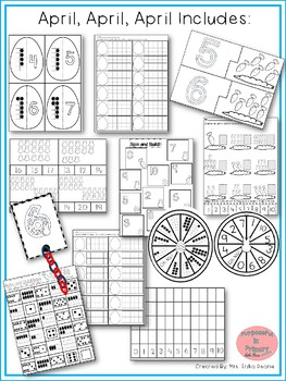 April! 7 Math Centers for Counting & Cardinality! Count & Recognize Numbers!