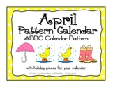 April ABBC Pattern Calendarw Clip Art- Pieces