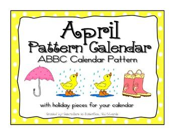 April ABBC Pattern Calendarw Clip Art- Pieces
