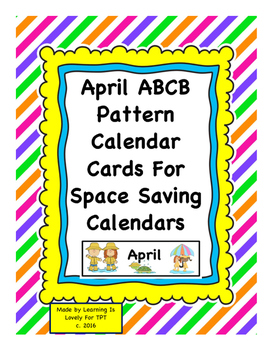 April ABCB Pattern Calendar Cards: Fits Regular and Small