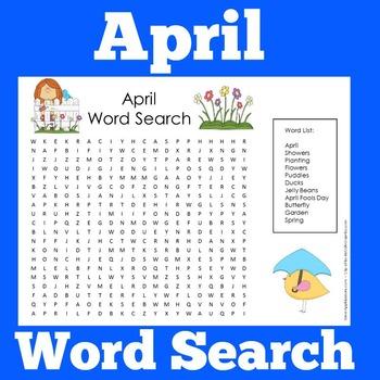 April Word Search   April Wordsearch   April Worksheet   April Activity