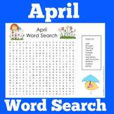 April Worksheet Word Search