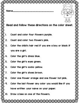 April Activities~Read and Follow Directions~NO PREP, JUST PRINT! 1st & 2nd Grade