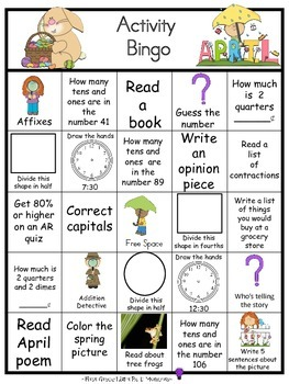 April Activity Bingo