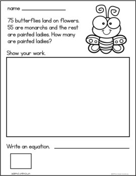 April Addition Word Problems First Grade