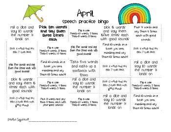 April Articulation Homework