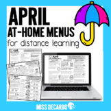 April At Home Learning Menus for Distance Learning Digital