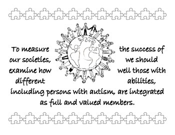 April Autism Awareness Month Printable Quote Pages